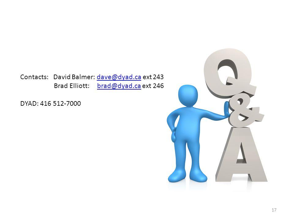 17 Contacts: David Balmer: dave@dyad.ca ext 243dave@dyad.ca Brad Elliott: brad@dyad.ca ext 246brad@dyad.ca DYAD: 416 512-7000