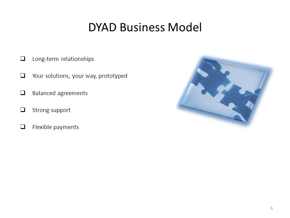 DYAD Business Model  Long-term relationships  Your solutions, your way, prototyped  Balanced agreements  Strong support  Flexible payments 6