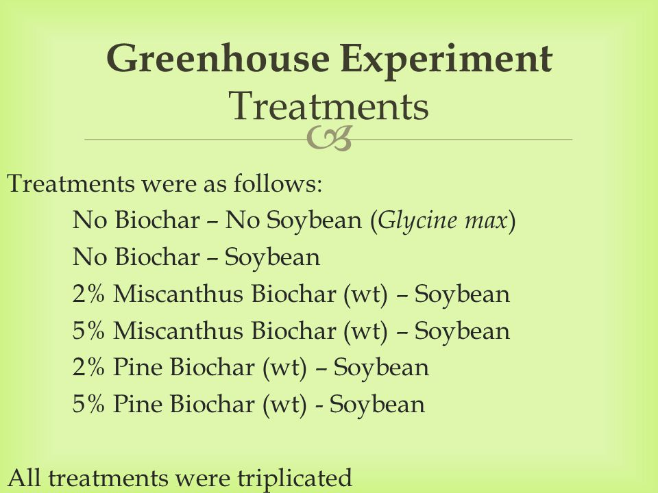  Treatments were as follows: No Biochar – No Soybean ( Glycine max ) No Biochar – Soybean 2% Miscanthus Biochar (wt) – Soybean 5% Miscanthus Biochar (wt) – Soybean 2% Pine Biochar (wt) – Soybean 5% Pine Biochar (wt) - Soybean All treatments were triplicated Greenhouse Experiment Treatments