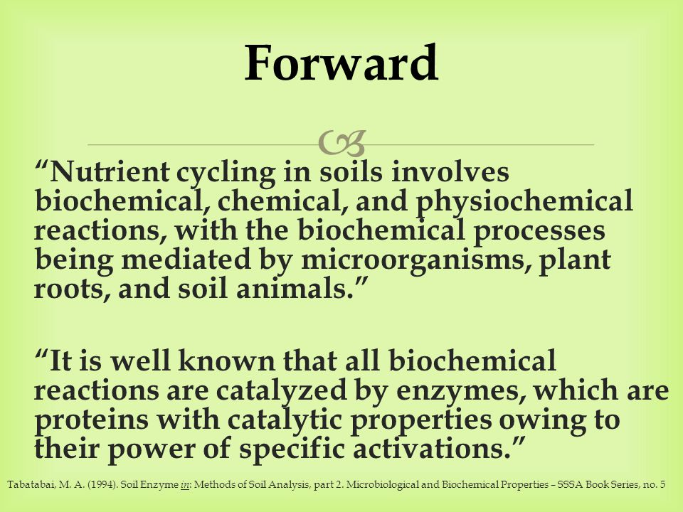  Nutrient cycling in soils involves biochemical, chemical, and physiochemical reactions, with the biochemical processes being mediated by microorganisms, plant roots, and soil animals. It is well known that all biochemical reactions are catalyzed by enzymes, which are proteins with catalytic properties owing to their power of specific activations. Tabatabai, M.