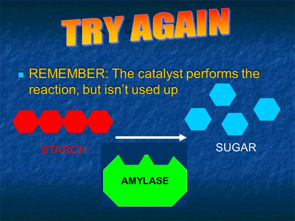 QUIZ - QUESTION 2 Click on the CATALYST in this reaction: STARCH SUGAR AMYLASE
