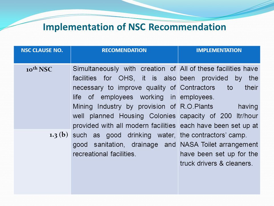 Implementation of NSC Recommendation NSC CLAUSE NO.RECOMENDATIONIMPLEMENTATION 10 th NSC Simultaneously with creation of facilities for OHS, it is also necessary to improve quality of life of employees working in Mining Industry by provision of well planned Housing Colonies provided with all modern facilities such as good drinking water, good sanitation, drainage and recreational facilities.