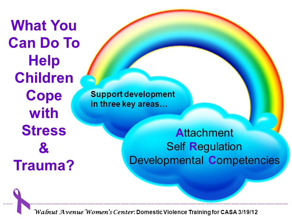 Attachment Be educated about trauma and trauma response Learn about consistent responses to actions/events Support routines & rituals Support parent/guardian When faced with people, situations, places, or things that remind them of traumatic events, children may re-experience the intense and disturbing feelings tied to the original traumatic event.