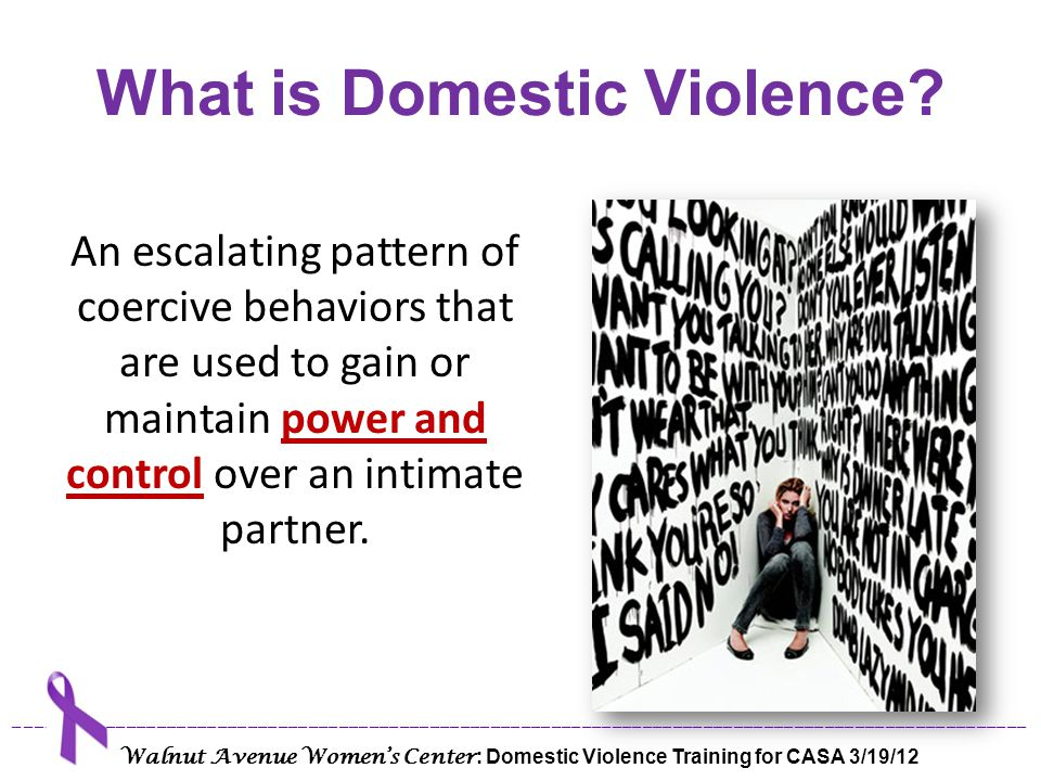 Tactics of Power & Control Physical Sexual Emotional Isolation Economic Verbal Technological Privilege ____________________________________________________________________________________________________ Walnut Avenue Women's Center : Domestic Violence Training for CASA 3/19/12
