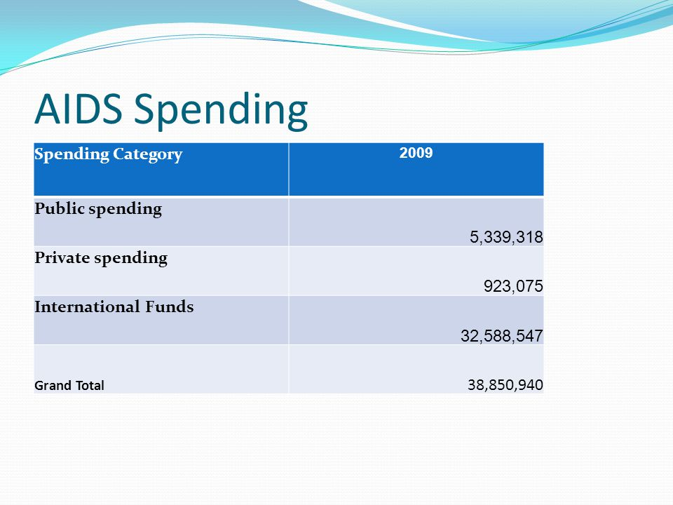 AIDS Spending Spending Category 2009 Public spending 5,339,318 Private spending 923,075 International Funds 32,588,547 Grand Total 38,850,940