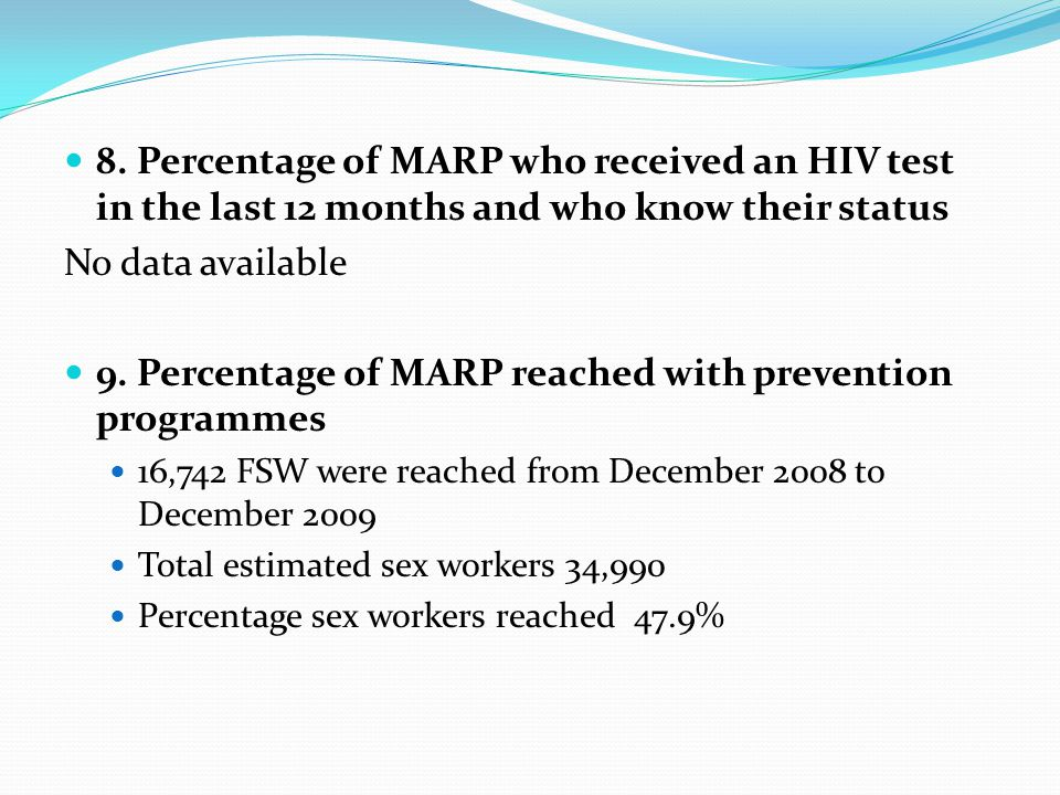 8. Percentage of MARP who received an HIV test in the last 12 months and who know their status No data available 9. Percentage of MARP reached with pr