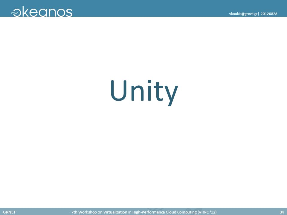 GRNET7th Workshop on Virtualization in High-Performance Cloud Computing (VHPC '12)34 vkoukis@grnet.gr  20120828 Unity