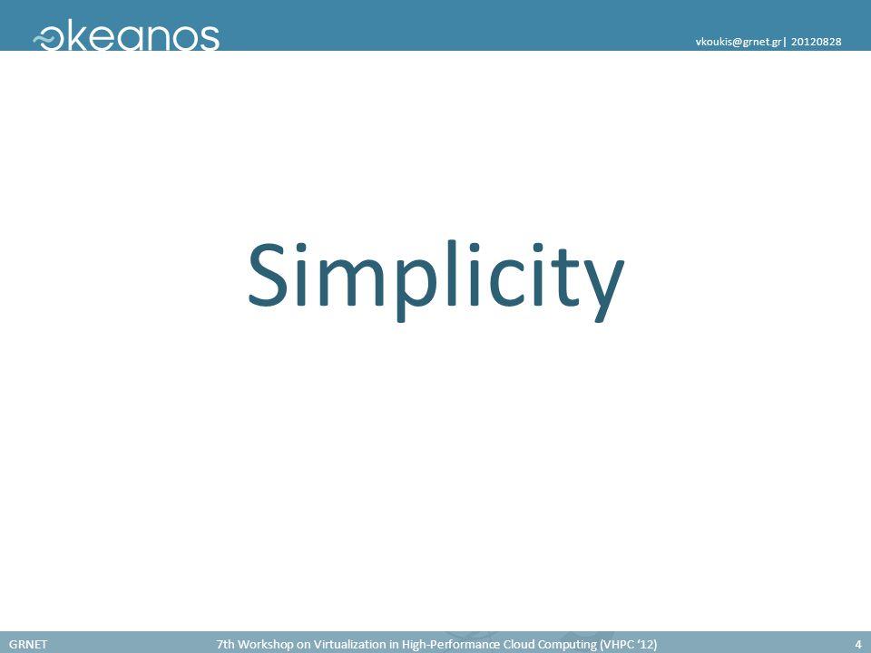 GRNET7th Workshop on Virtualization in High-Performance Cloud Computing (VHPC '12)4 vkoukis@grnet.gr  20120828 Simplicity