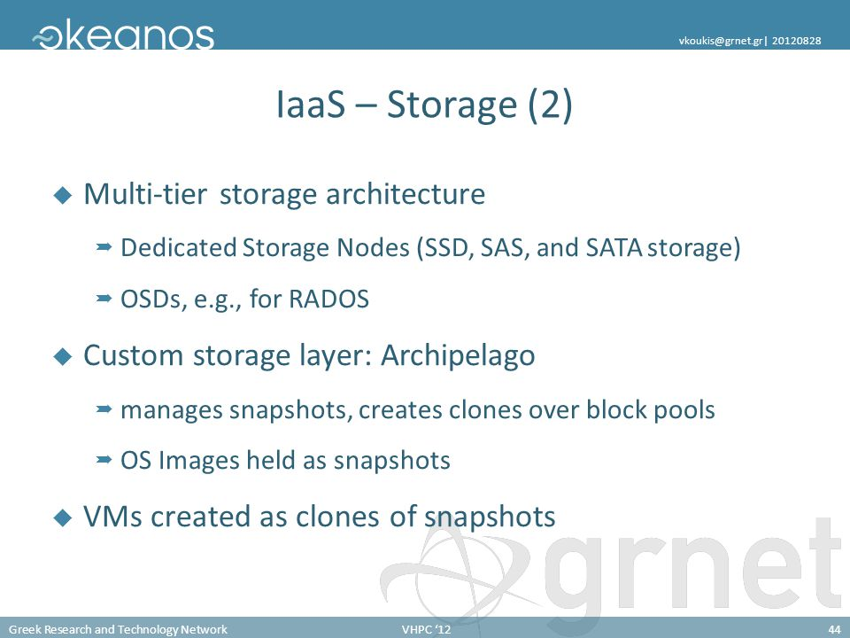Greek Research and Technology NetworkVHPC '1244 vkoukis@grnet.gr  20120828 IaaS – Storage (2)  Multi-tier storage architecture  Dedicated Storage No