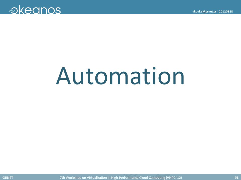 GRNET7th Workshop on Virtualization in High-Performance Cloud Computing (VHPC '12)51 vkoukis@grnet.gr  20120828 Automation
