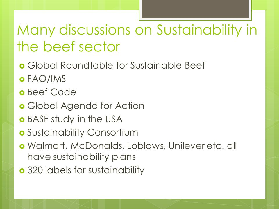 Many discussions on Sustainability in the beef sector  Global Roundtable for Sustainable Beef  FAO/IMS  Beef Code  Global Agenda for Action  BASF study in the USA  Sustainability Consortium  Walmart, McDonalds, Loblaws, Unilever etc.