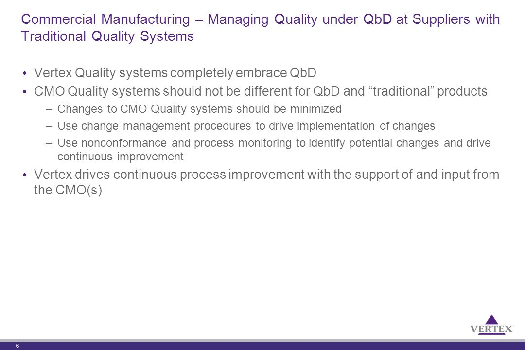 6 Commercial Manufacturing – Managing Quality under QbD at Suppliers with Traditional Quality Systems Vertex Quality systems completely embrace QbD CM