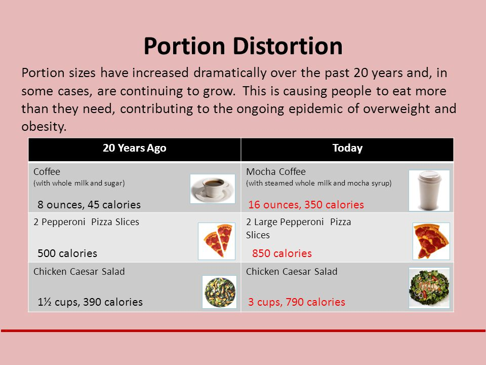Portion Distortion Portion sizes have increased dramatically over the past 20 years and, in some cases, are continuing to grow. This is causing people