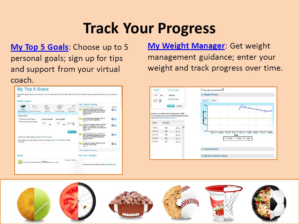 Track Your Progress My Top 5 GoalsMy Top 5 Goals: Choose up to 5 personal goals; sign up for tips and support from your virtual coach. My Weight Manag