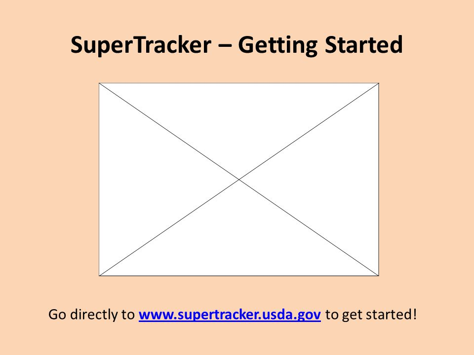 SuperTracker – Getting Started http://www.youtube.com/watch? v=vZ67QXVJKBg Go directly to www.supertracker.usda.gov to get started!www.supertracker.us