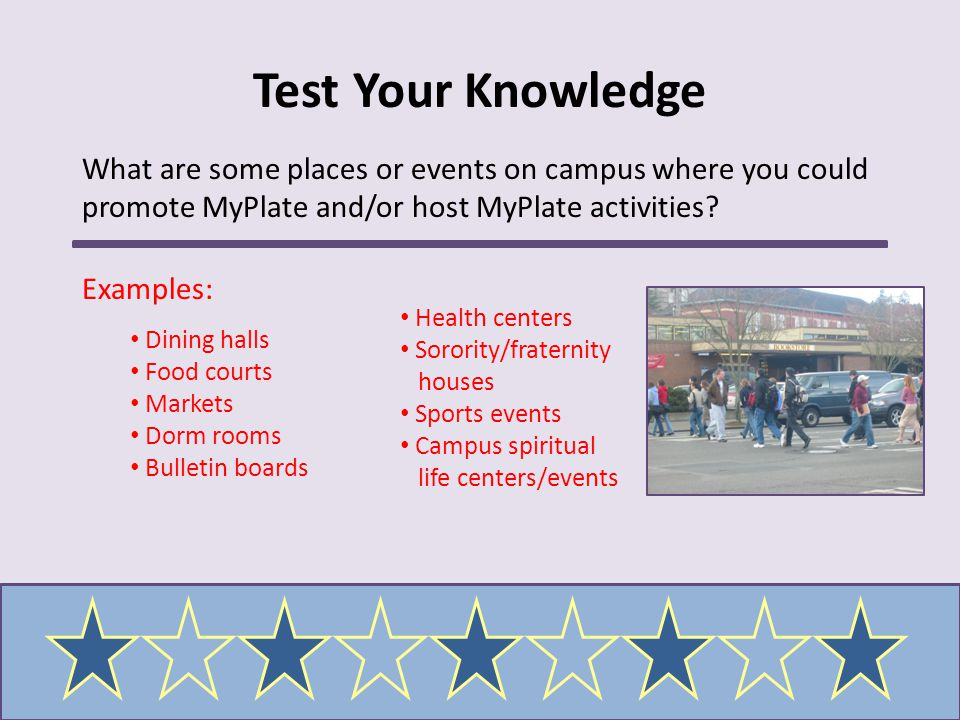 Test Your Knowledge What are some places or events on campus where you could promote MyPlate and/or host MyPlate activities? Examples: Dining halls Fo
