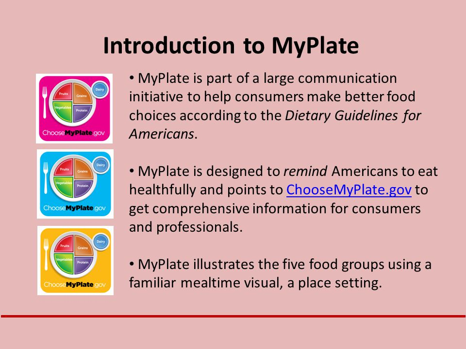MyPlate is part of a large communication initiative to help consumers make better food choices according to the Dietary Guidelines for Americans. MyPl