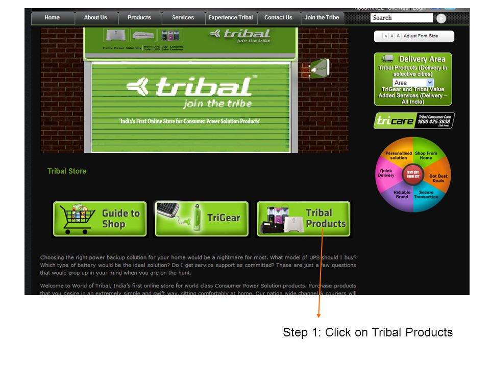 Step 1: Click on Tribal Products