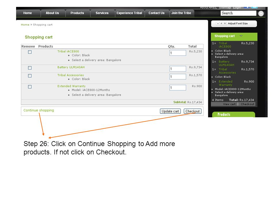 Step 26: Click on Continue Shopping to Add more products. If not click on Checkout.