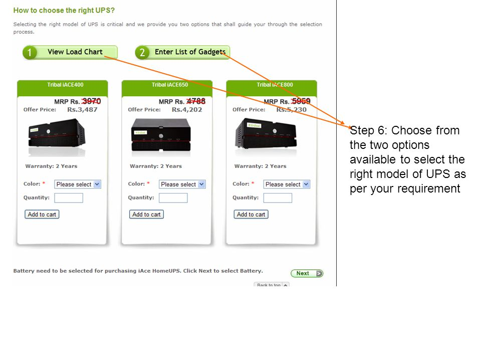 Step 6: Choose from the two options available to select the right model of UPS as per your requirement