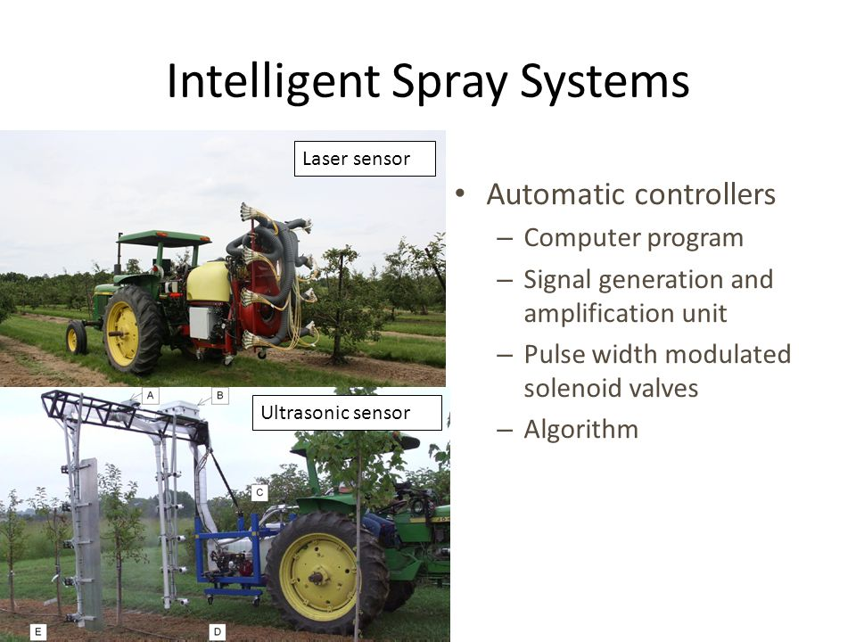 Intelligent Spray Systems Automatic controllers – Computer program – Signal generation and amplification unit – Pulse width modulated solenoid valves