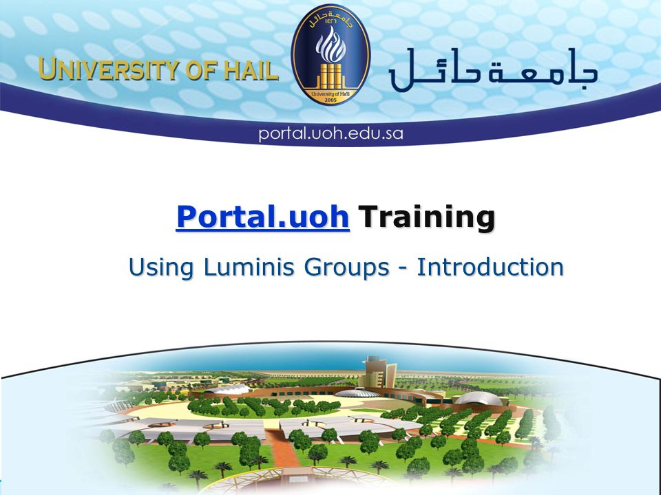 Using Luminis Groups - Introduction Portal.uoh Training