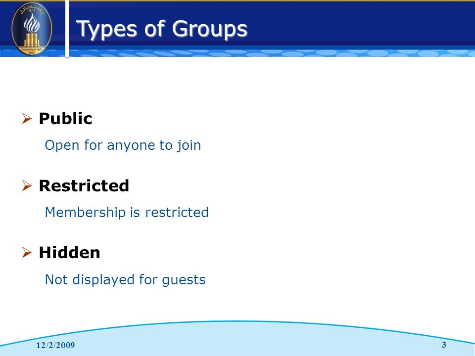 Types of Groups 12/2/2009 3  Public Open for anyone to join  Restricted Membership is restricted  Hidden Not displayed for guests