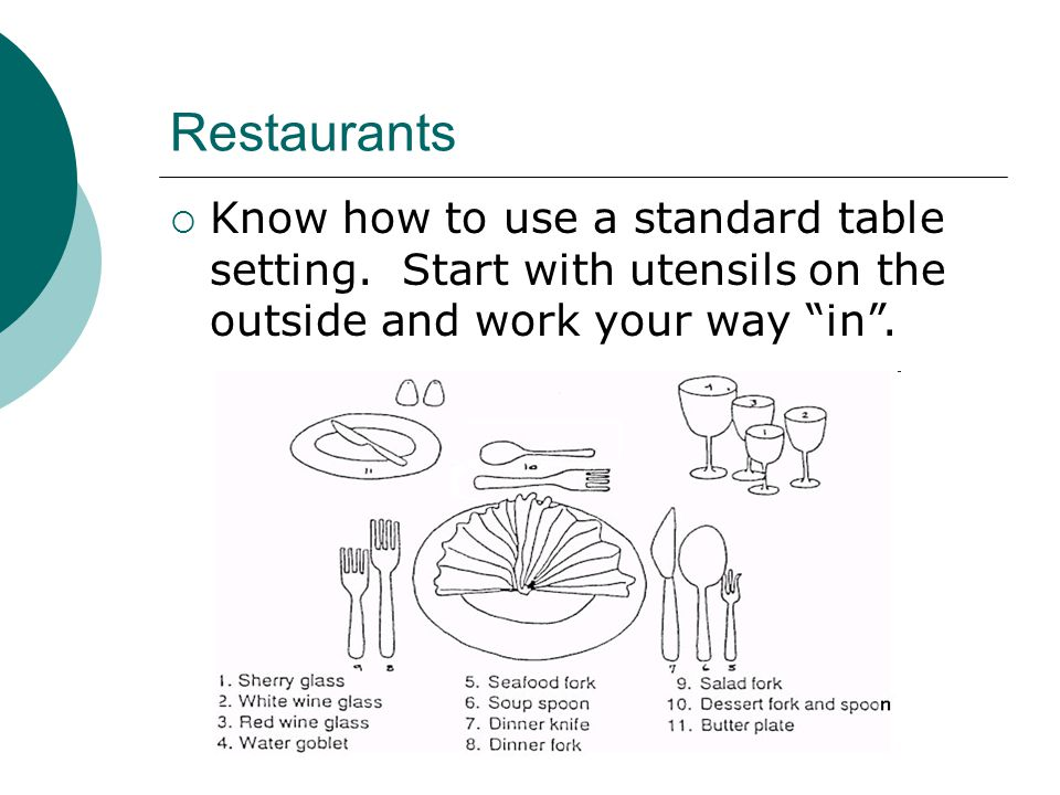 Restaurants  Know how to use a standard table setting.