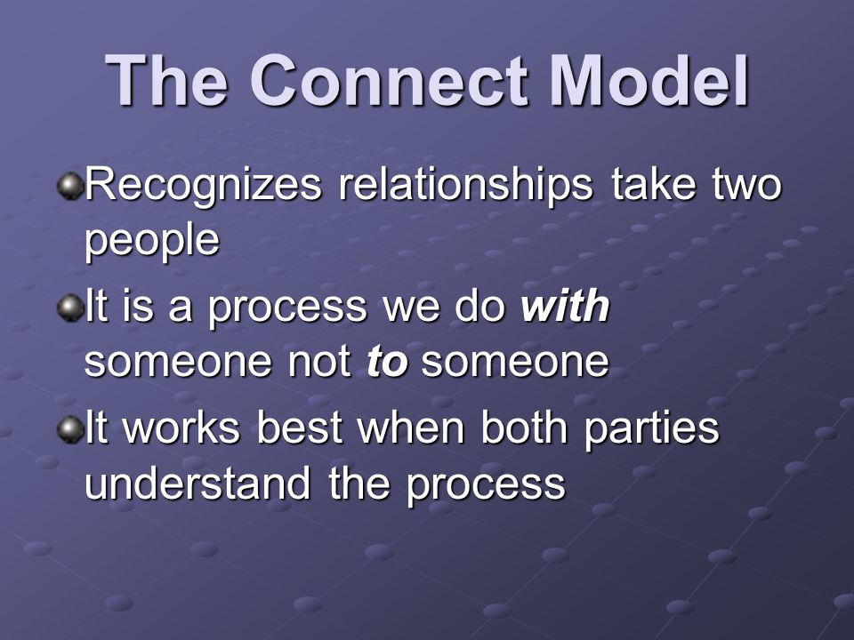 The Connect Model Recognizes relationships take two people It is a process we do with someone not to someone It works best when both parties understan