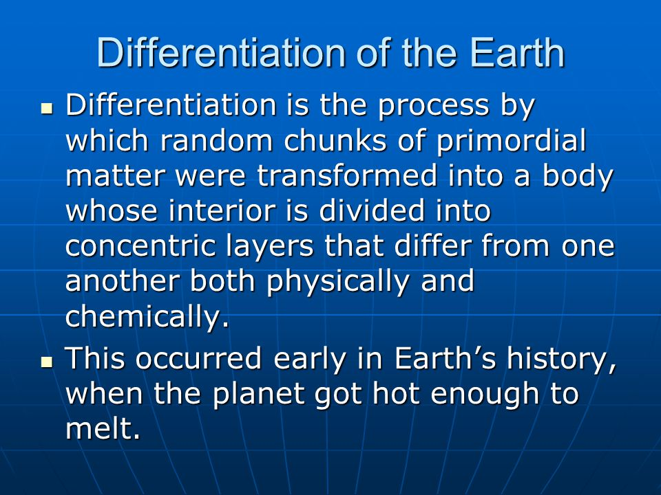 What was the starting point for differentiation.