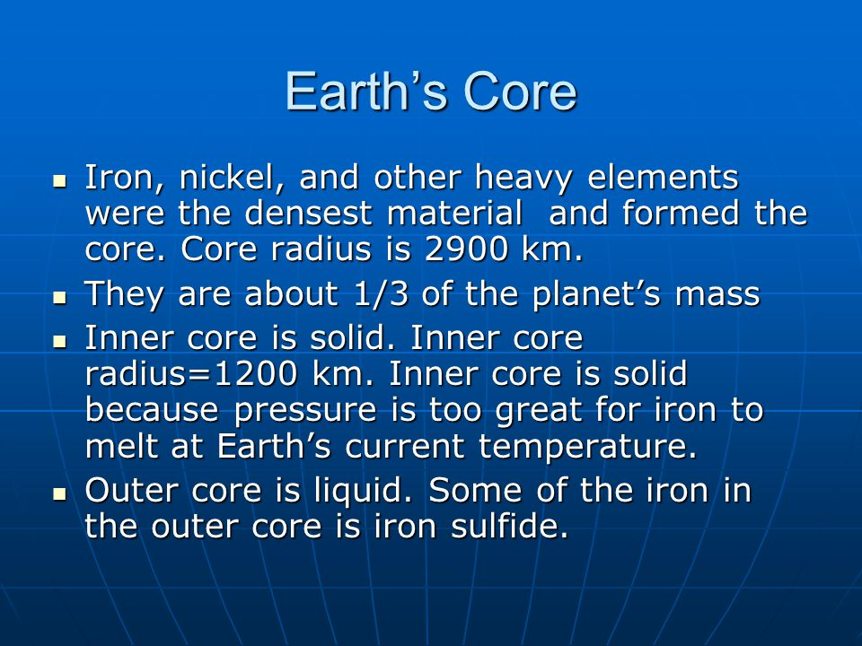 The Iron, Oxygen, Sulfur, Magnesium, and Silicon story There were large amounts of these five elements in the early Earth There were large amounts of these five elements in the early Earth The fate of the iron was controlled by its affinity for bonding with oxygen and sulfur.