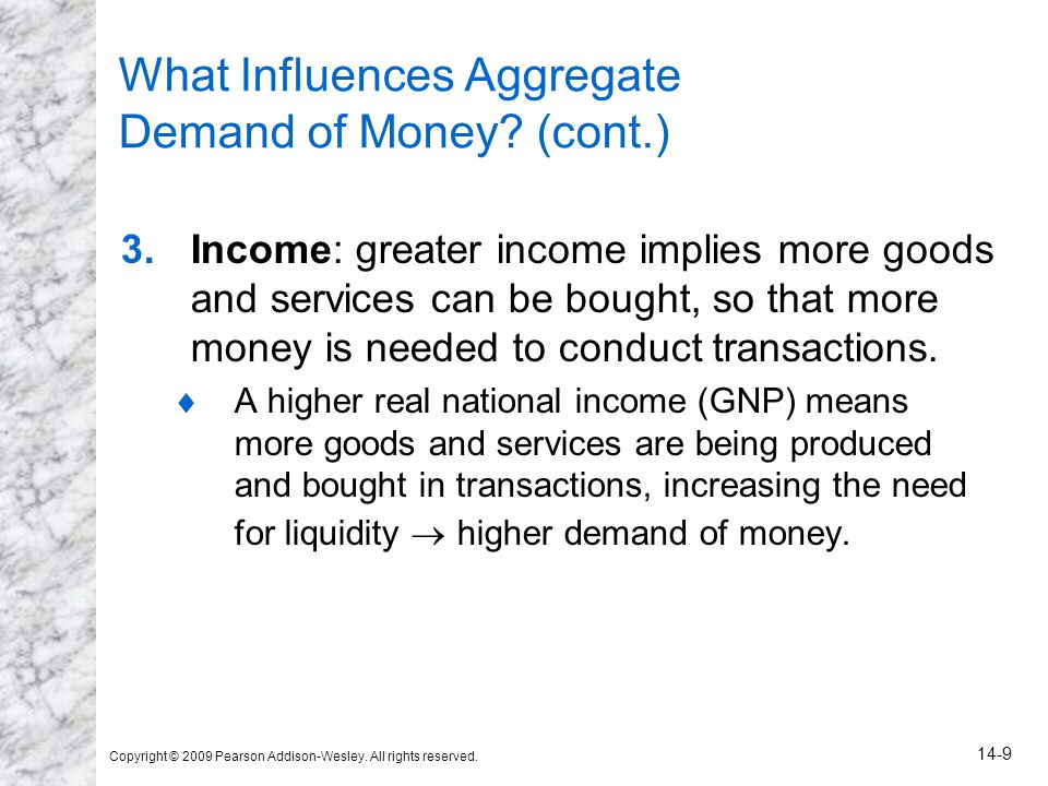 Copyright © 2009 Pearson Addison-Wesley. All rights reserved. 14-9 What Influences Aggregate Demand of Money? (cont.) 3.Income: greater income implies