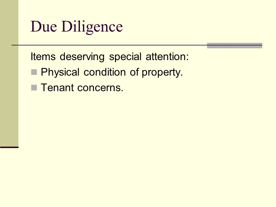 Due Diligence Items deserving special attention: Physical condition of property. Tenant concerns.
