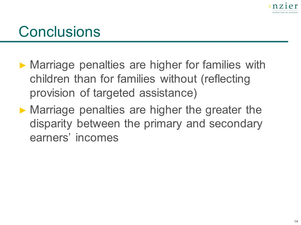 14 Conclusions ► Marriage penalties are higher for families with children than for families without (reflecting provision of targeted assistance) ► Marriage penalties are higher the greater the disparity between the primary and secondary earners' incomes