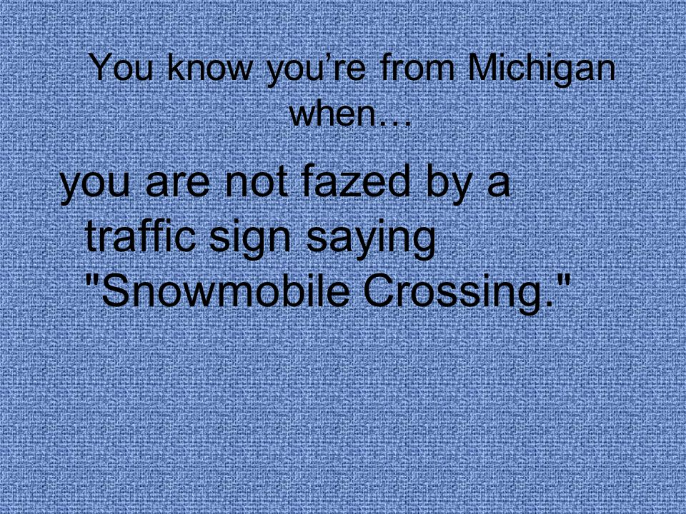 You know you're from Michigan when… you are not fazed by a traffic sign saying Snowmobile Crossing.