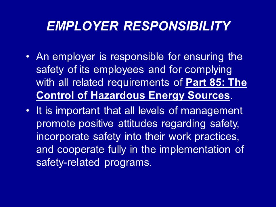 EMPLOYER RESPONSIBILITY An employer is responsible for ensuring the safety of its employees and for complying with all related requirements of Part 85