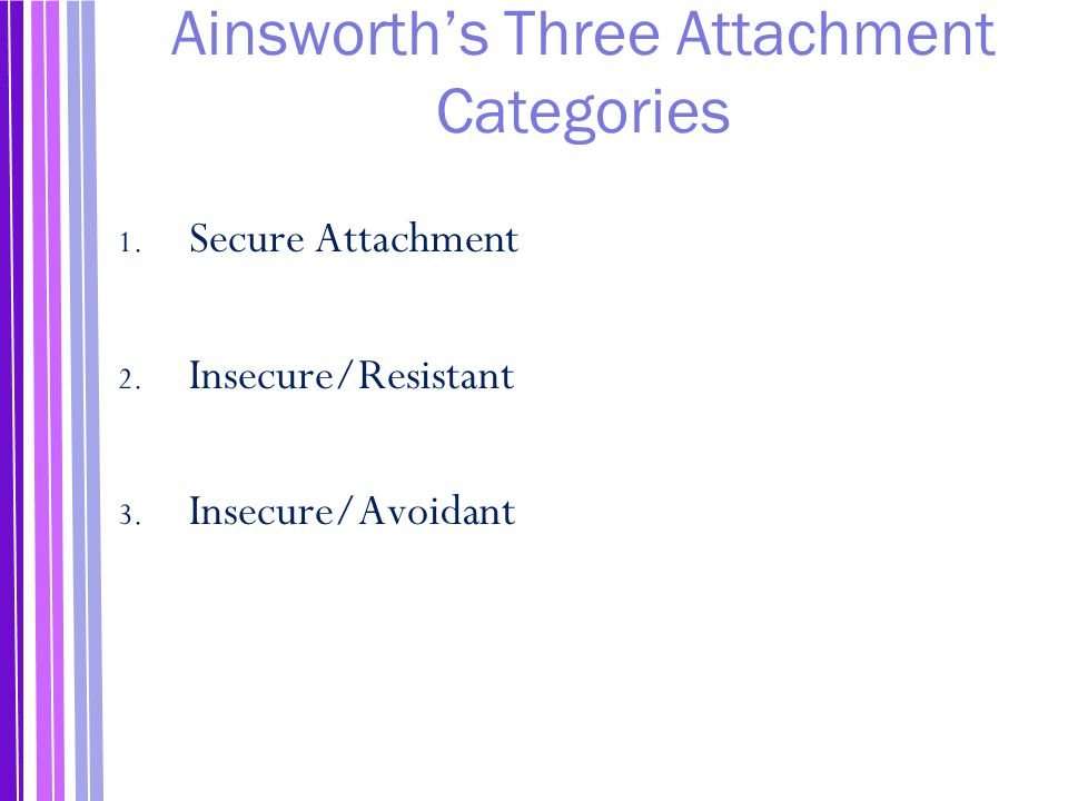 Ainsworth's Three Attachment Categories 1.Secure Attachment 2.