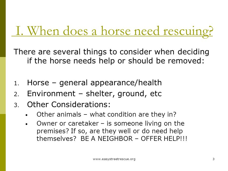 www.easystreetrescue.org3 I. When does a horse need rescuing.