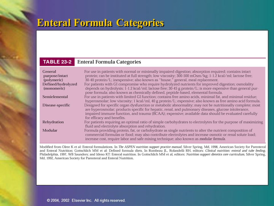© 2004, 2002 Elsevier Inc. All rights reserved. Enteral Formula Categories