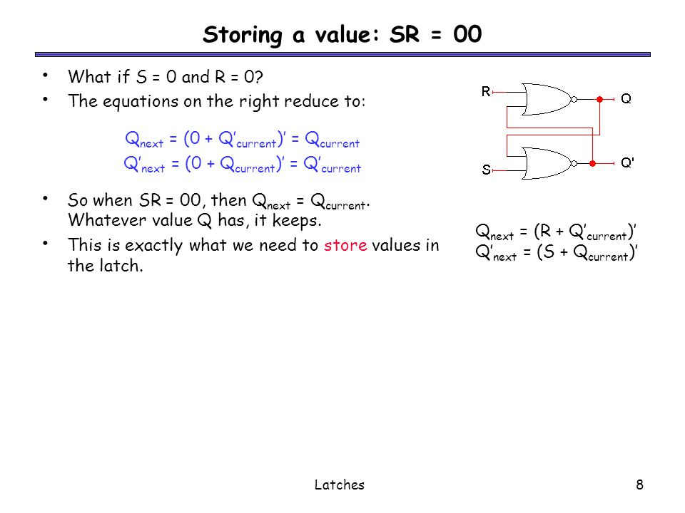Latches9 Setting the latch: SR = 10 What if S = 1 and R = 0.