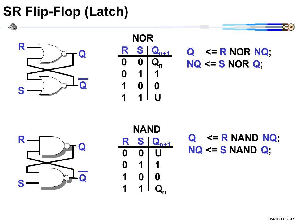 CWRU EECS 317 SR Flip-Flop (Latch) R S Q Q NAND R S Q n+1 0 0 U 0 1 1 1 0 0 1 1 Q n R S Q Q NOR R S Q n+1 0 0 Q n 0 1 1 1 0 0 1 1 U Q <= R NOR NQ; NQ <= S NOR Q; Q <= R NAND NQ; NQ <= S NAND Q;