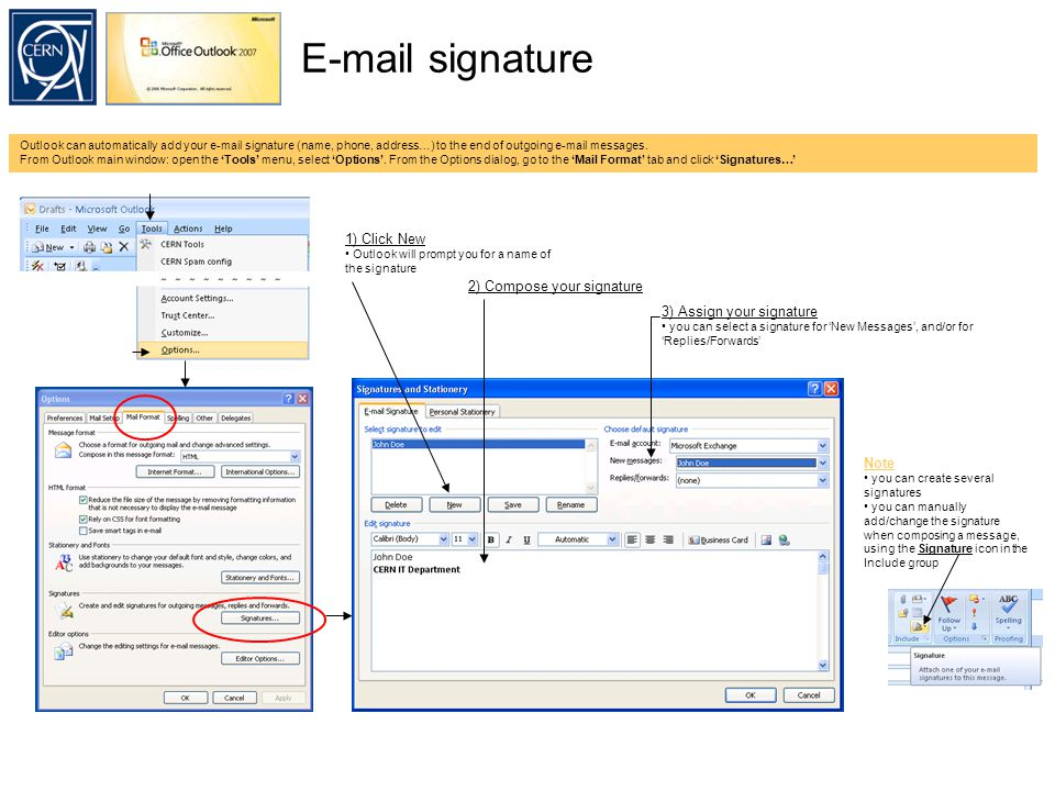 E-mail signature Outlook can automatically add your e-mail signature (name, phone, address…) to the end of outgoing e-mail messages.