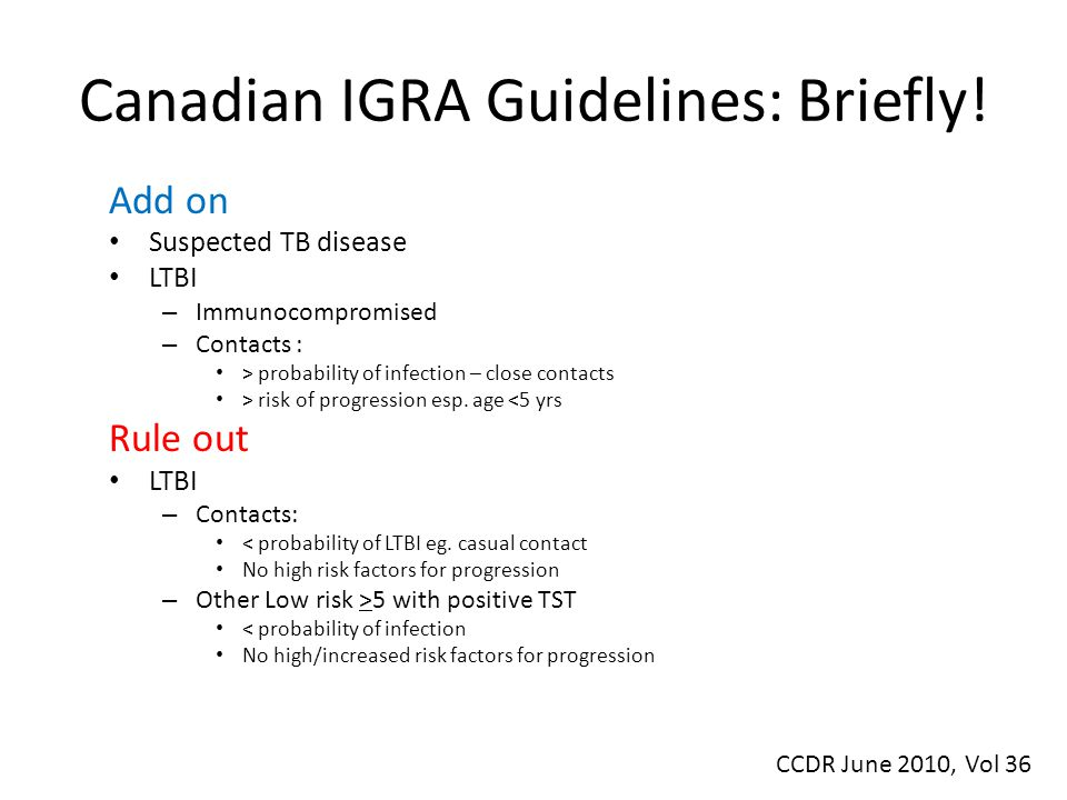 Canadian IGRA Guidelines: Briefly.