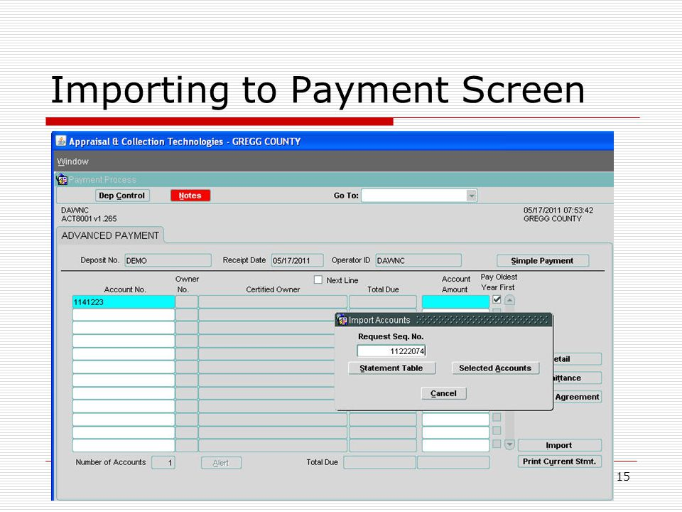 Importing to Payment Screen 15