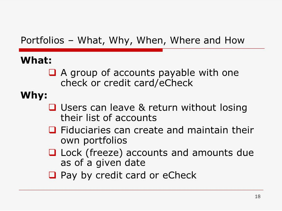 18 Portfolios – What, Why, When, Where and How What:  A group of accounts payable with one check or credit card/eCheck Why:  Users can leave & return without losing their list of accounts  Fiduciaries can create and maintain their own portfolios  Lock (freeze) accounts and amounts due as of a given date  Pay by credit card or eCheck