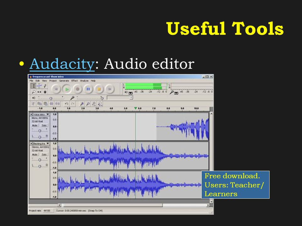 Useful Tools Audacity: Audio editorAudacity Free download. Users: Teacher/ Learners
