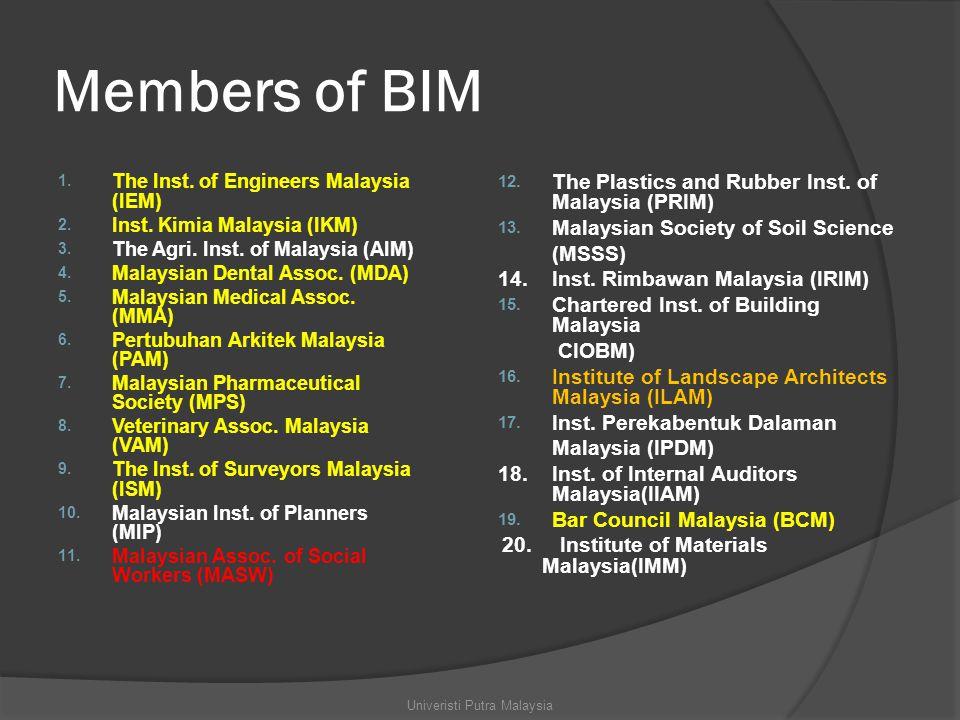 Members of BIM 1. The Inst. of Engineers Malaysia (IEM) 2.