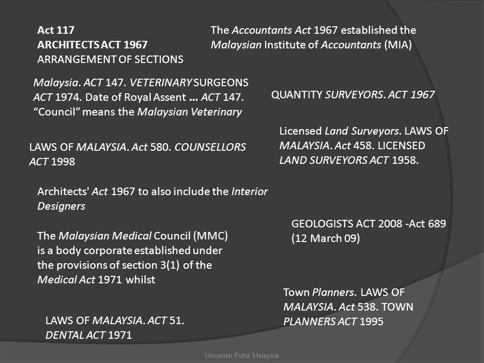 Act 117 ARCHITECTS ACT 1967 ARRANGEMENT OF SECTIONS QUANTITY SURVEYORS.