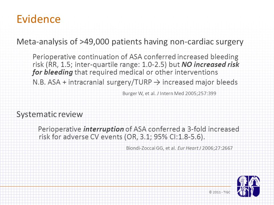 Evidence Meta-analysis of >49,000 patients having non-cardiac surgery Perioperative continuation of ASA conferred increased bleeding risk (RR, 1.5; in
