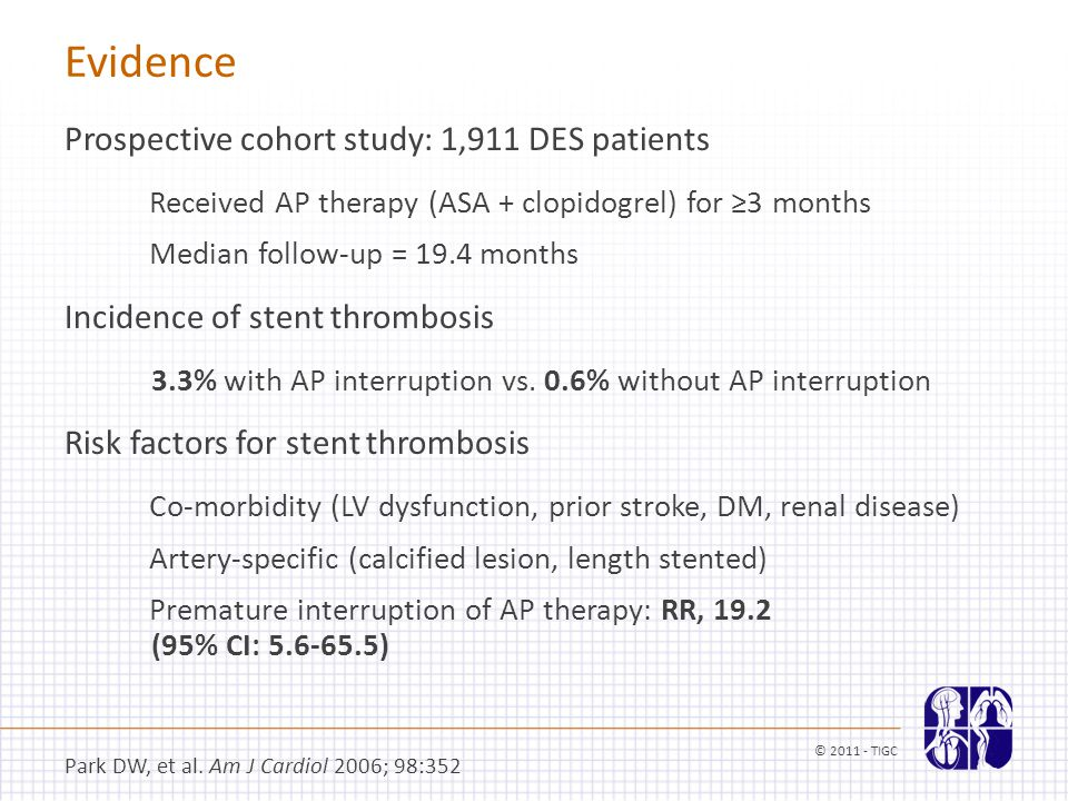 Evidence Prospective cohort study: 1,911 DES patients Received AP therapy (ASA + clopidogrel) for ≥3 months Median follow-up = 19.4 months Incidence o